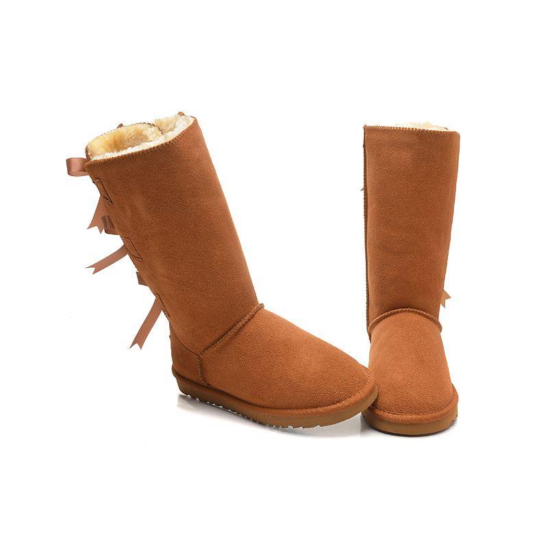 Großhandel Ugg Boots Schnee Winterstiefel Classic Australian Women 3 Bow Tall Designer Damen Mädchen Stiefeletten Overknee Overknee High Boot 36 41