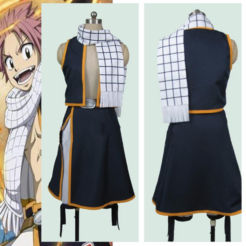 Adult Men Women Fairy Tail Etherious Natsu Dragneel Cosplay Costumes Full Set Vest + Skirt + Scarf