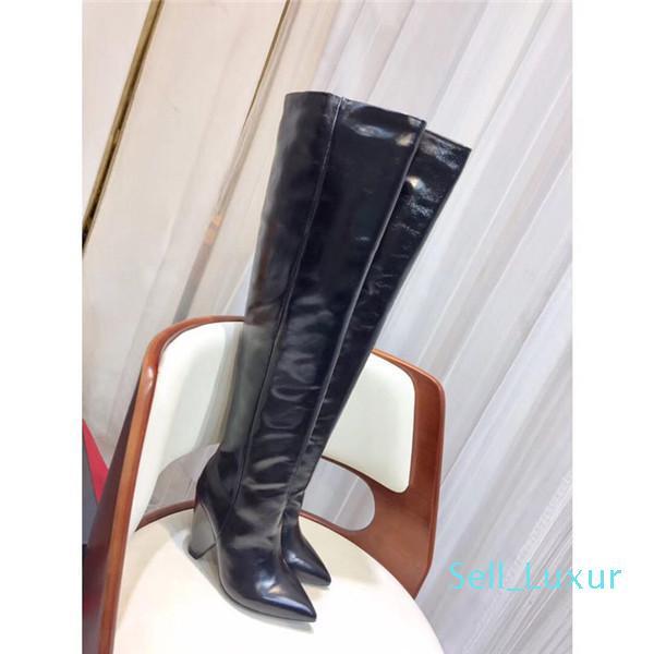 Полный кожаные тонкие высокие ботинки женщин зимы новое масло воск кожа морщинистая сапоги высокой пятки заостренный носок сапоги