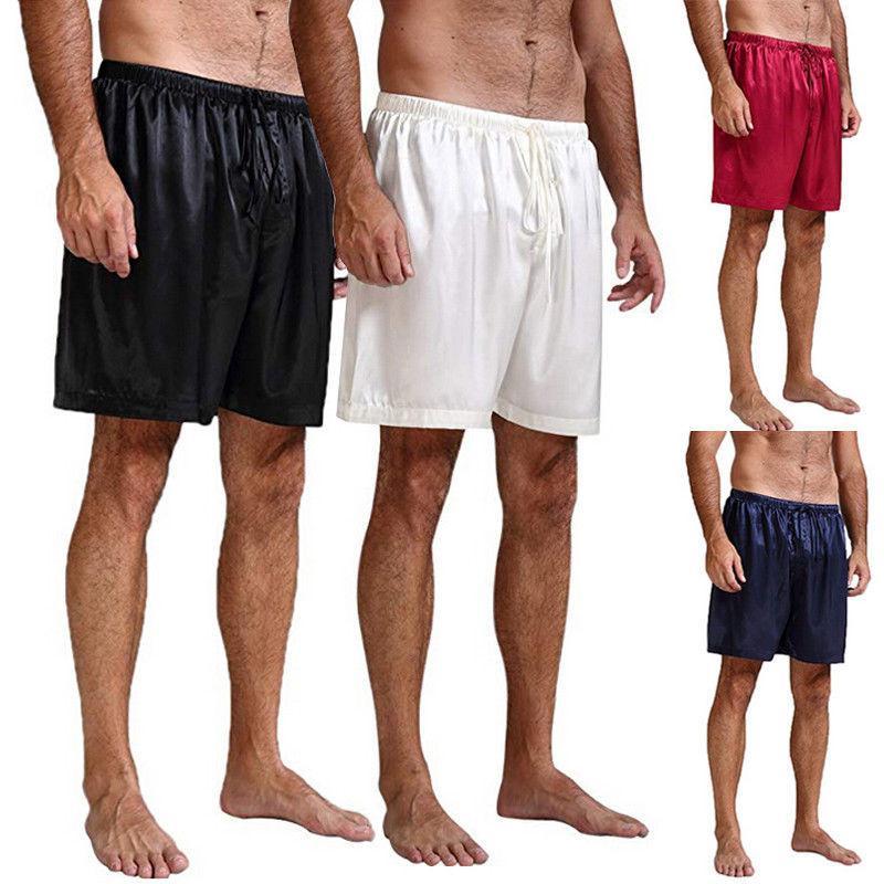 HIRIGIN Mens Ipek Saten Pijama Pijama Şort Salonu Plaj Şort Boxer Ücretsiz Uyku Dipleri S ~ XL