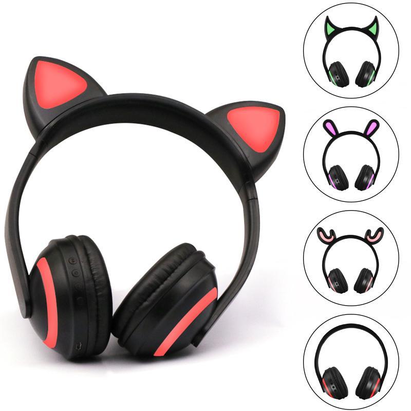 Cat Bluetooth Wireless Ear Glowing fascia Auricolari Bunny Ear Headphone luce auricolari con il LED per il PC del computer portatile