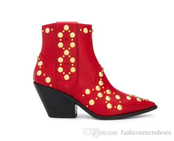 2019 New Winter Red Leather Ankle Boots
