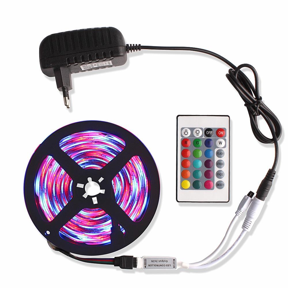 5 м 2835 музыки / связь Bluetooth RGB светодиодные полосы света Тирас из светодиодов 12 В постоянного тока водонепроницаемые диодные ленты ленты Фита светодиодов + адаптер пульт дистанционного управления
