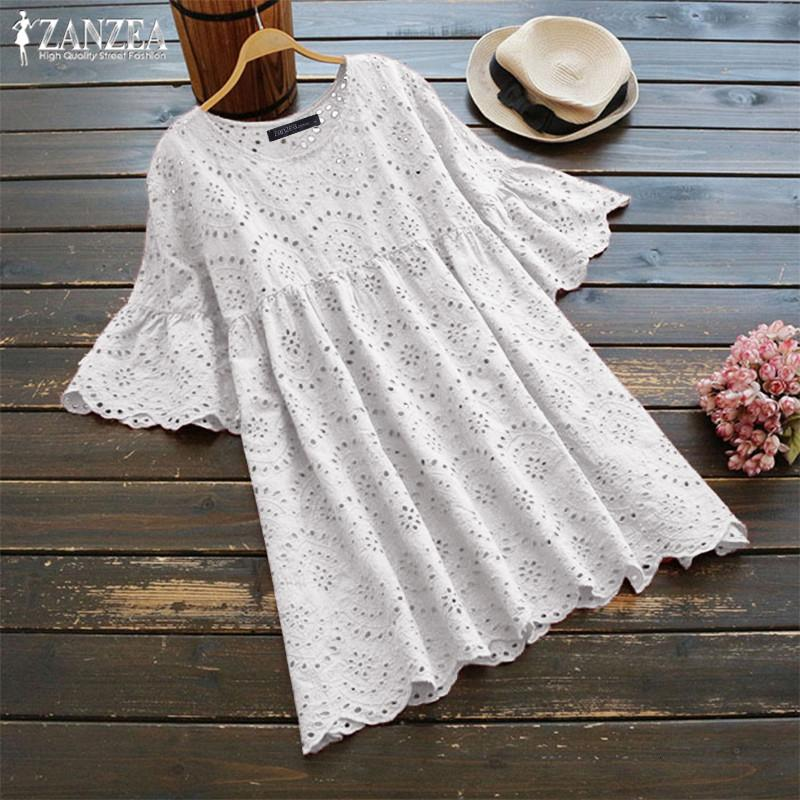 Plus Size Summer Tunic Women's Embroidery Blouse 2019 ZANZEA Woman Hollow Blusas Half Ruffle Sleeve Chemise Female Casual Shirts SH19010
