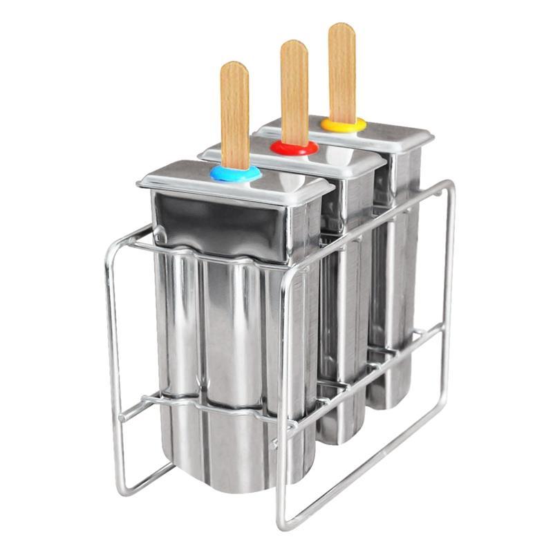 3 Yeniden kullanılabilir Paslanmaz Çelik Popsicle Kalıp Of Set ve Raf, Bpa Ücretsiz Buz Yapıcı Kiti, Buz Lolly Kalıplar, Dondurma Makinesi