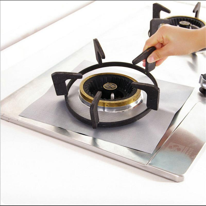 Stove Aluminum Foil Burner Gas Cover Liner Protector Mat Reusable Clean Cover DD