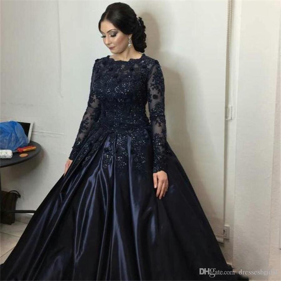 2019 Lacivert Örgün Abiye Uzun Kollu Kristaller Dantel Aplike Balo Abiye Özelleştirilmiş Made vestidos longos de dresses