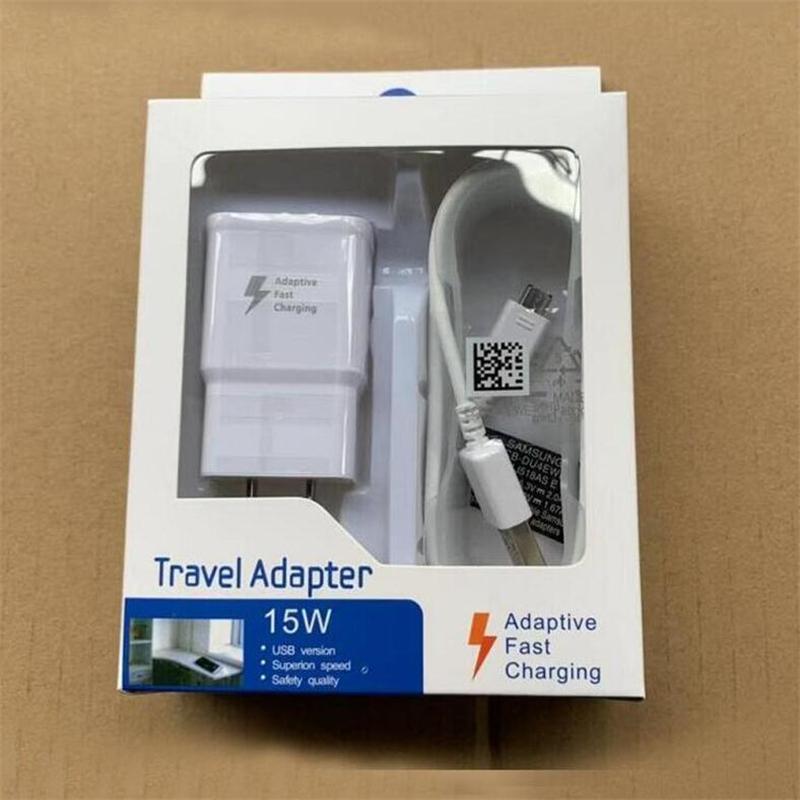 Alta Qualidade 15W Adaptive 100% carregamento rápido de viagem carregador de parede + 1.5M Micro cabo USB para Samsung S6 S7 Borda Nota 4 5 Com Box