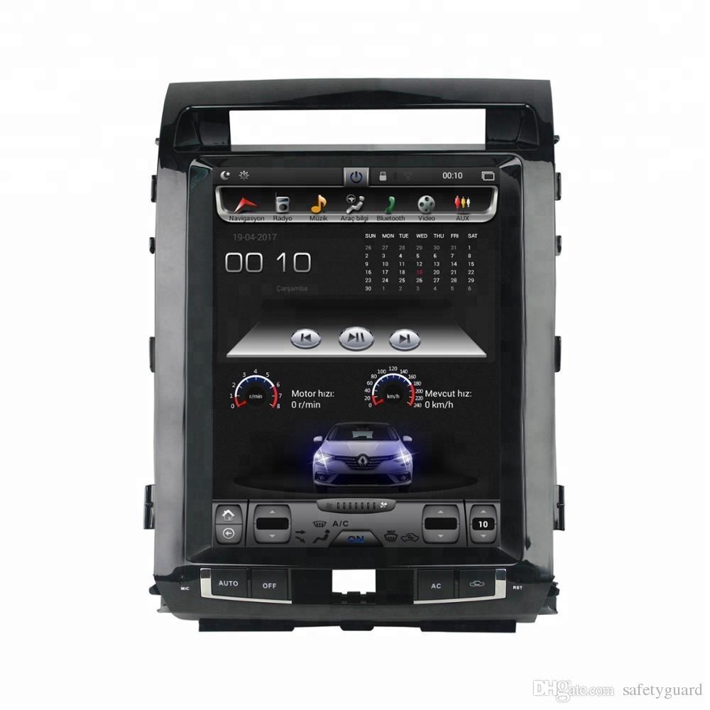 """테슬라 스타일 스크린 12.1 """"Toyota Land Cruiser LC200 2008 2009 2010 2011 2012 2013 2014 2015 용 Android 7.1 차량용 DVD 스테레오 라디오 GPS"""