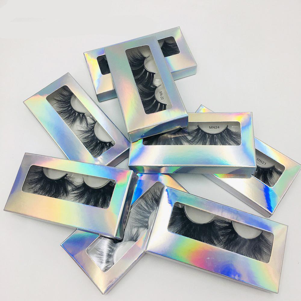 25MM طويلة الرموش المنك سميكة طبيعي كامل 3D حزام أدوات جلدة العين كاذبة ماكياج 9 أنماط الجمال 1PAIR مع مربع