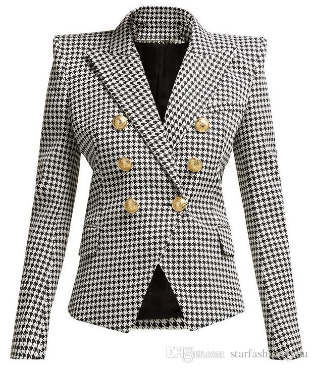 New Style Brand B Top Quality Original Design Women's Houndstooth Double-Breasted Slim Jacket Metal Buckles Blazer suit collar outwear