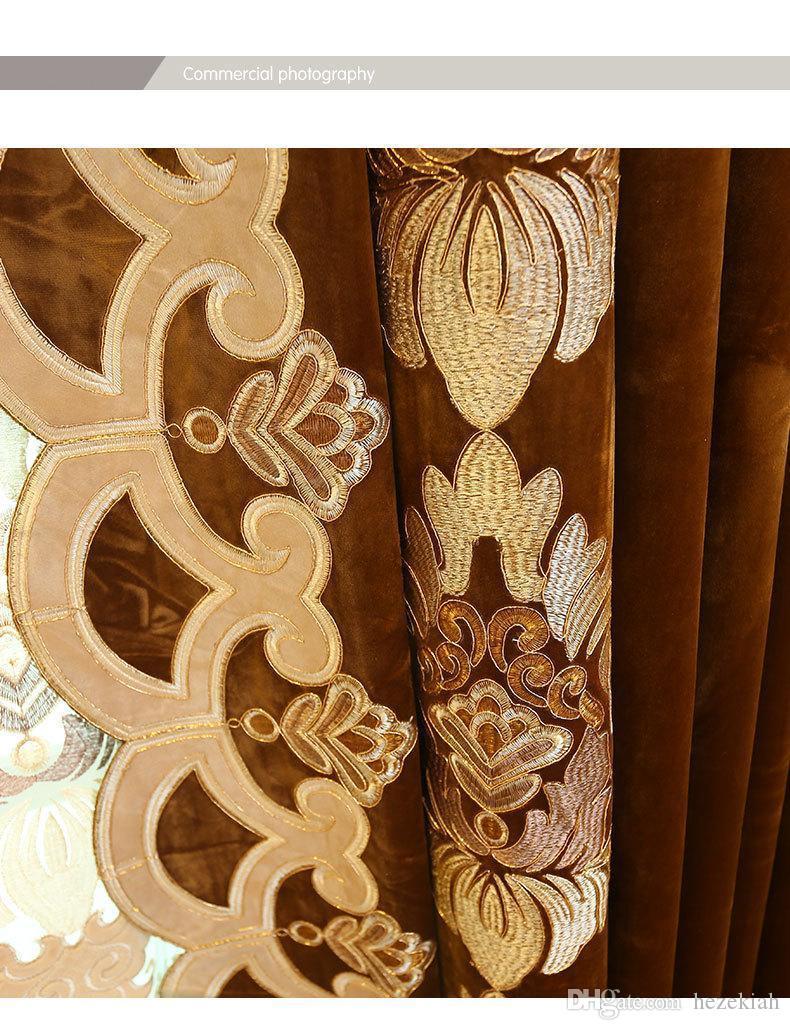 Tende In Velluto Di Seta acquista golden nuovo tessuto della tenda tende di velluto del ricamo di  alta gamma europei di prodotti finiti di lavorazione su misura a 52,58 €  dal