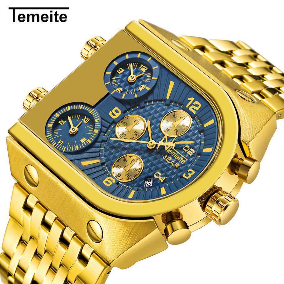 New TEMEITE magnésio Especial Relógio de luxo elegante Militar Três Time Zone Calendário Steel Band relógio de quartzo relógio