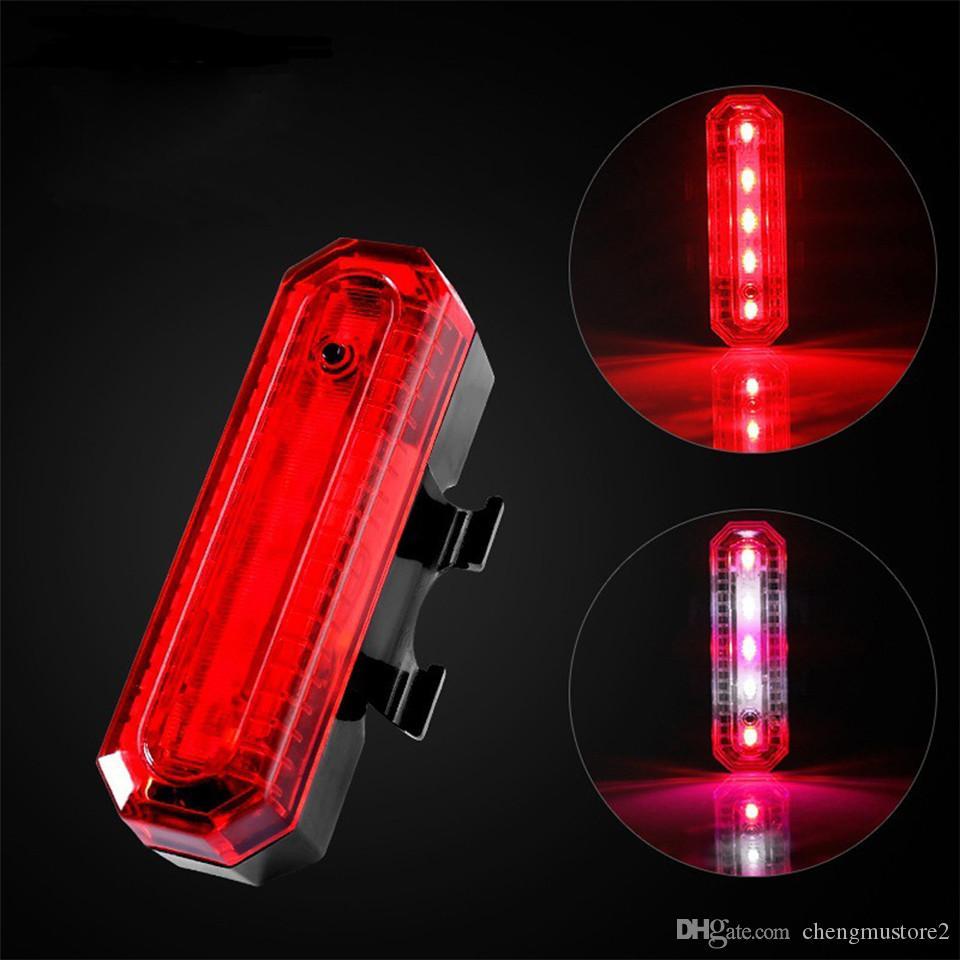 2020 LED vélo recharge USB mèche d'économie d'énergie lumineuse Nouvelle sécurité VTT deux couleurs avertissement lumière lumière de nuit