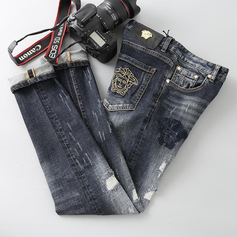 LLF Best Seller Yeni Moda Erkek Giyim Özgün Tasarım Erkekler Jeans Düz Pantolon Nakış Rahat Pantolon Ddc9070