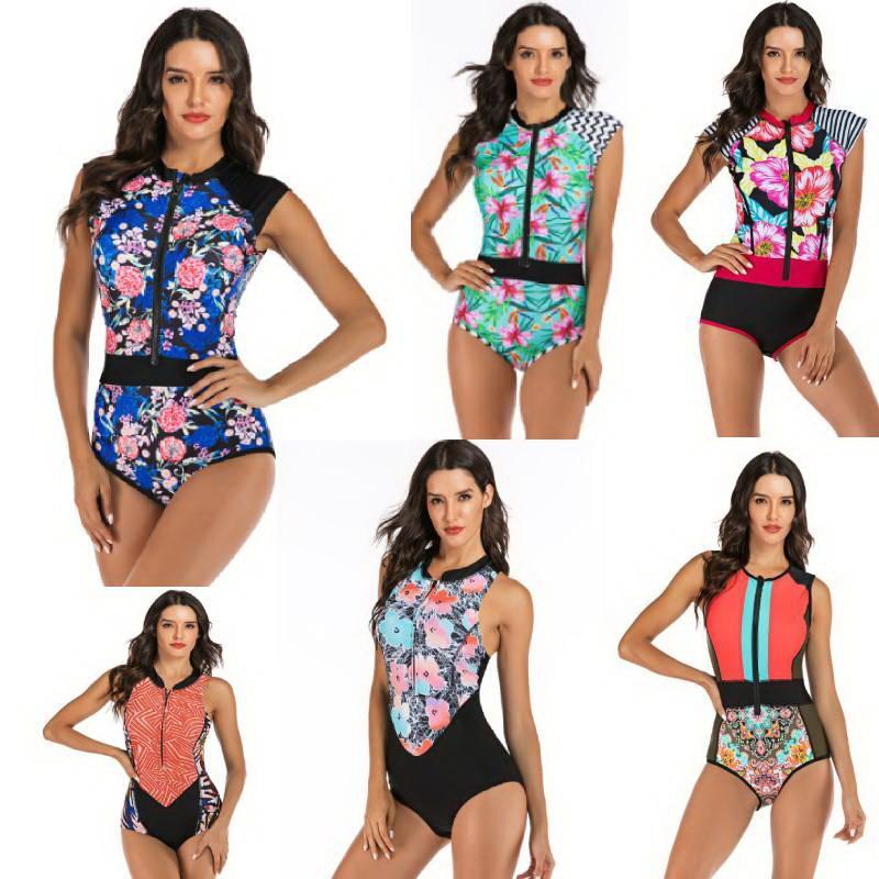 Sexy Plus size Swimwear Women One Piece Swimsuit Zipper Monokini Swimsuit Sport Bodysuit Beach wear Bathing Suit Swim Jumpsuit Y200319