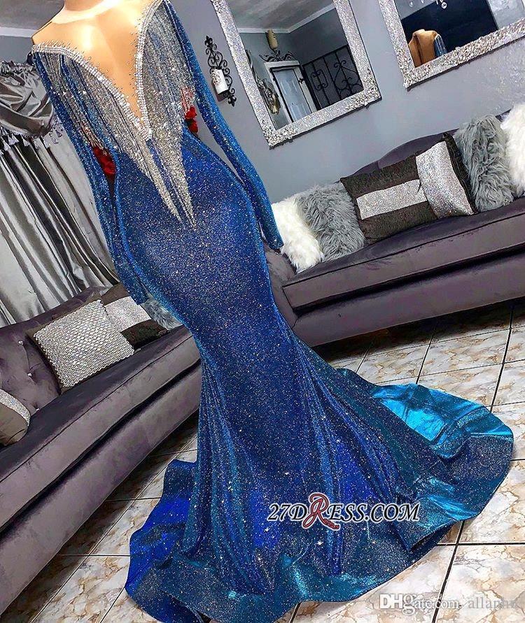 Royal Blue 2019 barato novo Mermaid Prom Vestidos Dubai Árabe mangas compridas profundo decote em V lantejoulas Evening Partido Formal vestido do desgaste Abendkleid