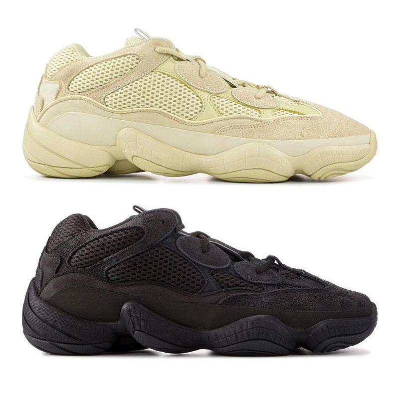 Yüksek kalite 500 Tuz Koşu Ayakkabı Mens Womens Çöl Sıçan 500 Yardımcı Siyah Allık Kanye West Tasarımcı Spor sneakers 36-45 Atletik Ayakkabı
