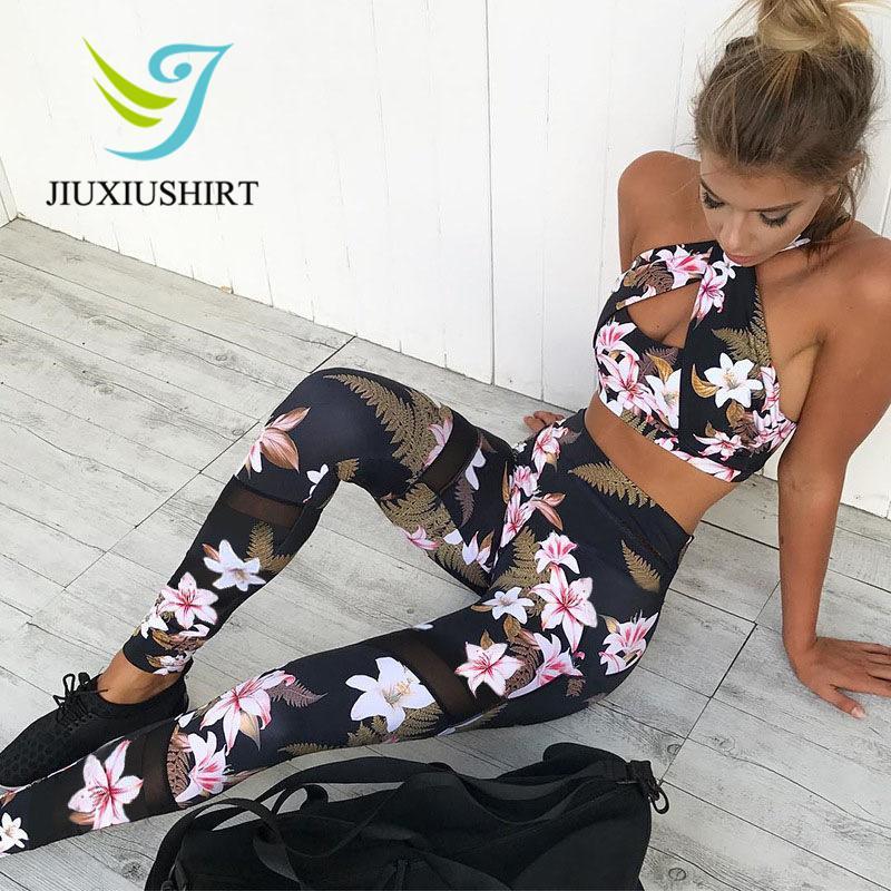 Femmes 2 Pièce Yoga Set Gym Fitness Vêtements Vêtements Floral Print Bra + Long Pantalon Running Collants Jogging Entraînement De Yoga Leggings Sport Suit Q190521