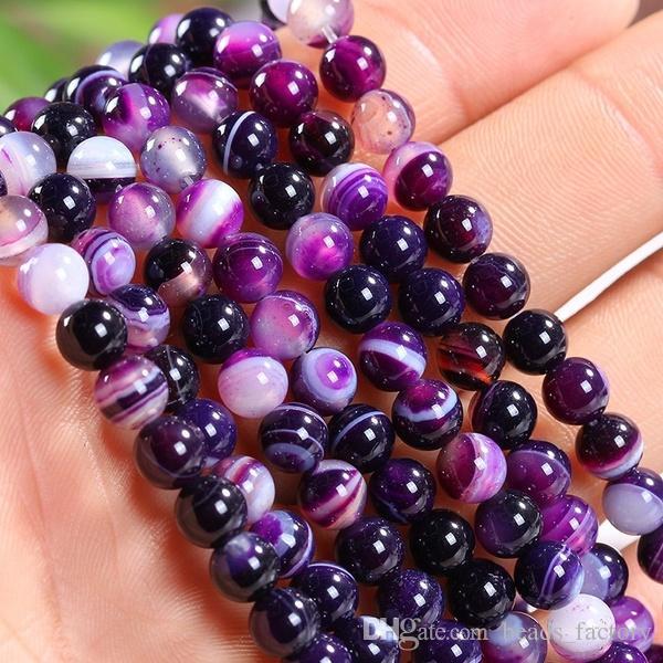 4MM 6MM 8MM 10MM 12MM naturale a strisce viola agata pietre intorno ai branelli allentati del distanziatore per il braccialetto della collana di fascini monili che fanno