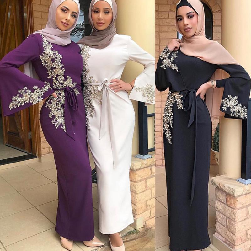 Nueva llegada elegent moderno islámico ropa maxi vestido bordado Encaje con perla marroquí caftán turco vestidos abaya