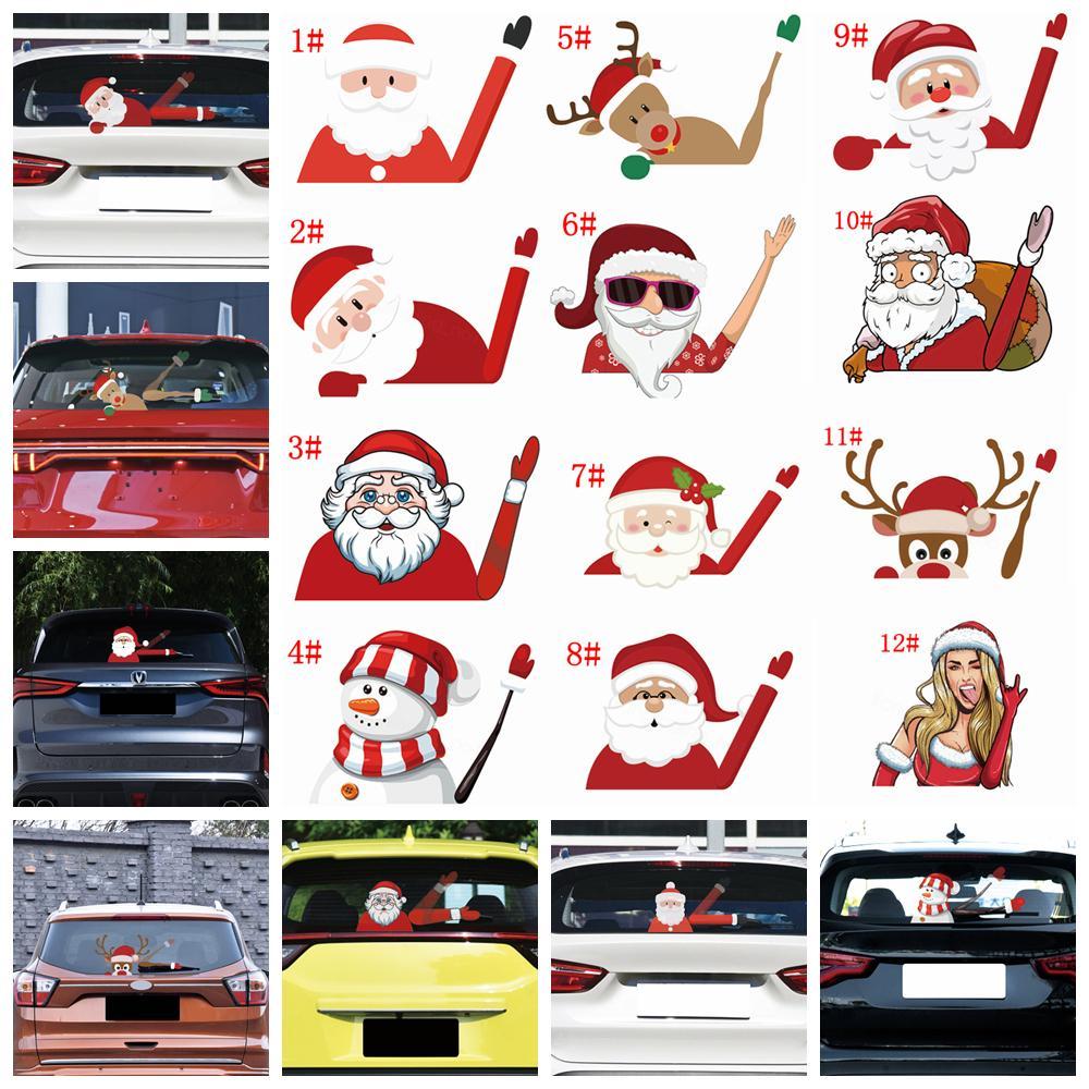 18styles Noel Araba Etiketler Dekor karikatür Noel Baba 3D PVC Dalgalanan Şekillendirme Camsil Çıkartmaları Arka Cam Yapışkanlı FFA3279-2