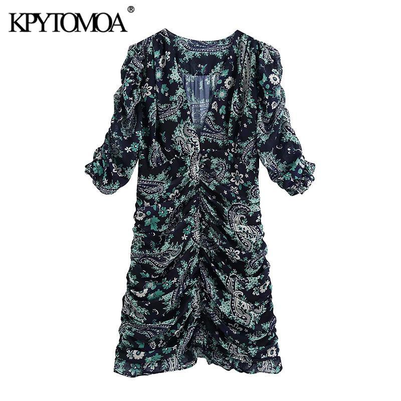 KPYTOMOA Frauen 2020 Chic Mode-Druck gekräuseltes drapiertes Minikleid Weinlese V-Ausschnitt Kurzarm-Seiten-Reißverschluss Weibliche Kleider Vestidos