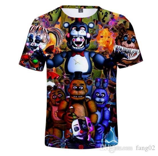 Cinco Noites em Freddy 3D Impresso Camisetas menino / gril / Crianças Moda Verão de Manga Curta Tshirts 2019 Casual Desgaste Na Moda