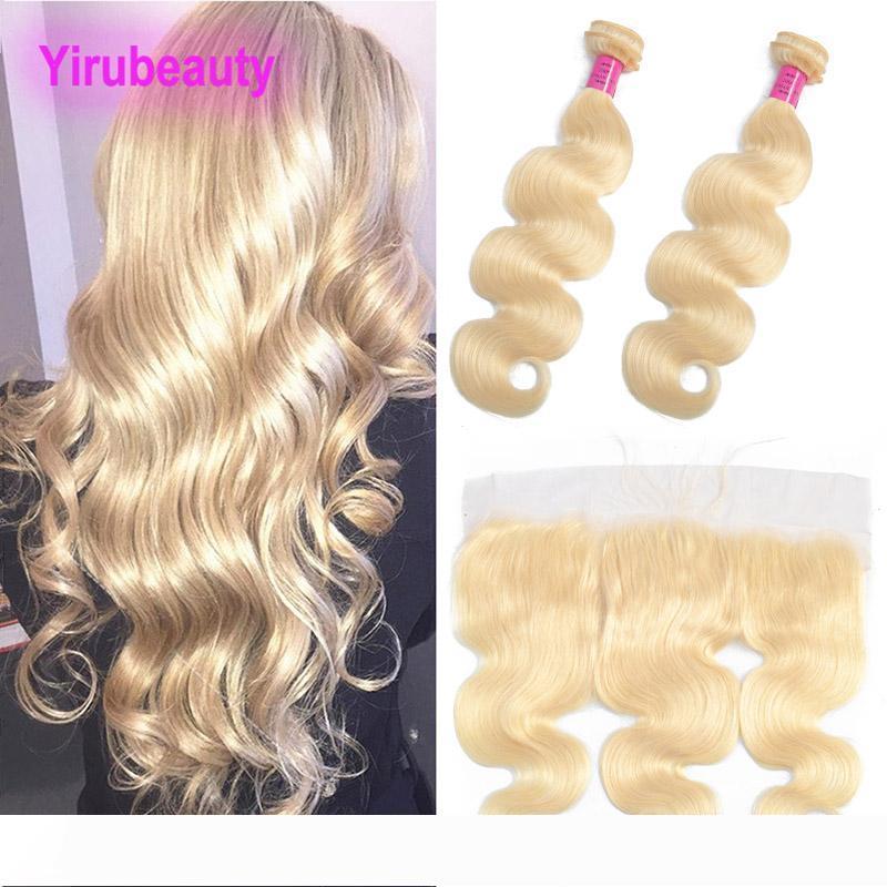 Indiana vergine dei capelli Estensioni Bundle Con 13x4 Pizzo frontale Biondo 613 di colore dell'onda del corpo delle trame dei capelli Con 13 * 4 frontale Biondi