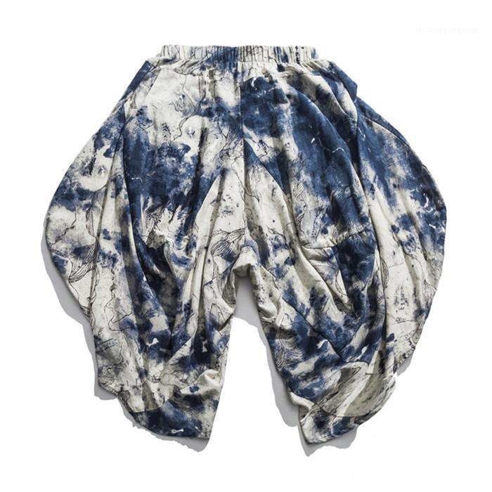 Hop Vintage Streetwear китайский стиль мужчин брюки лето Девять Очки Цветочные мужские Брюки Брюки Сыпучие вскользь Hip