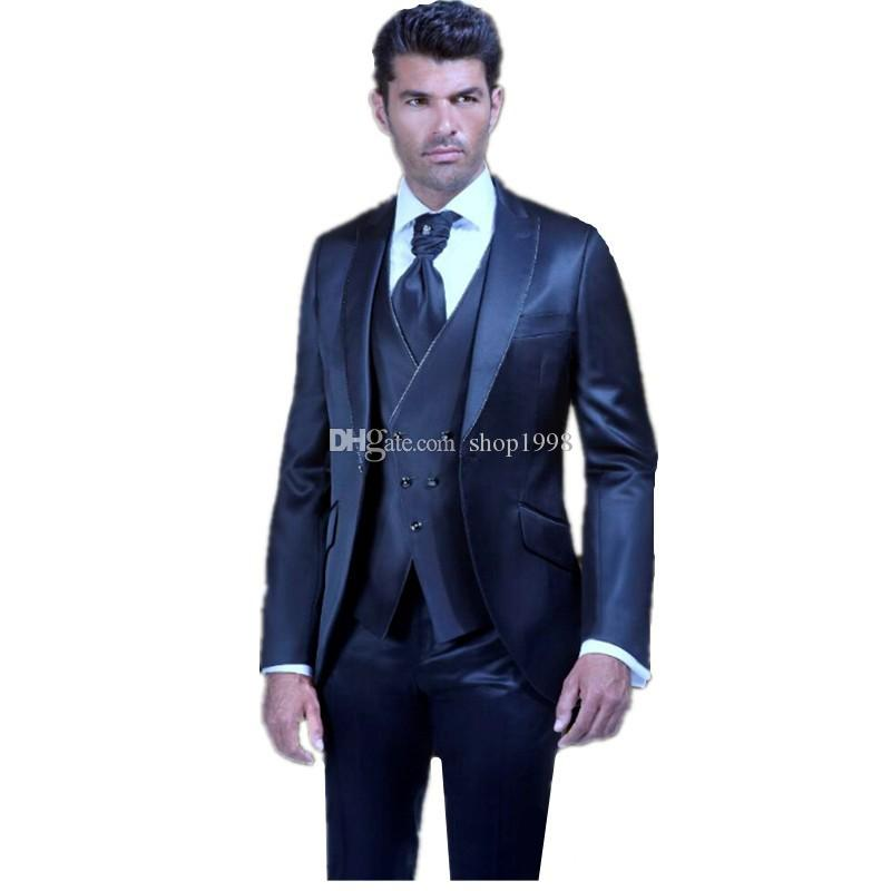 New Style Groom Tuxedos Shiny Navy Blue Groomsmen Peak Lapel Best Man Suit Wedding/Men Suits Bridegroom ( Jacket+Pants+Vest+Tie ) A283