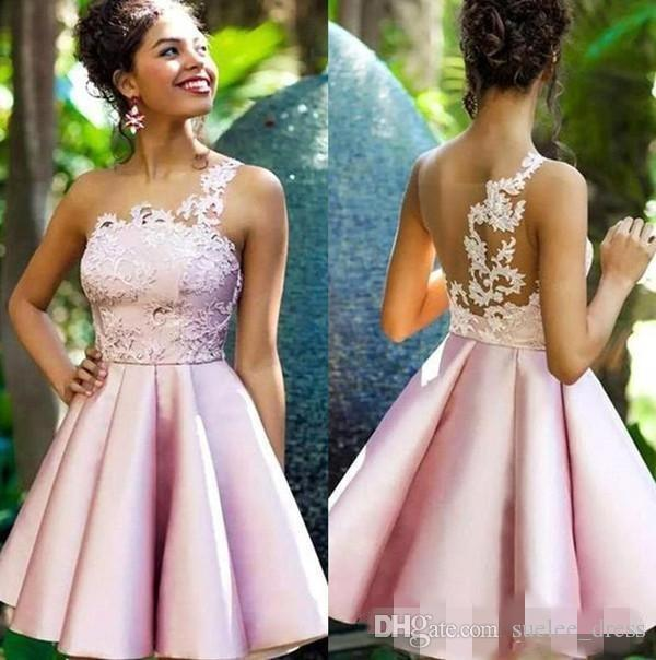 Newest Pink Homecoming Dresses Lace Applique One Shoulder Satin Short Mini Juniors Graduation Prom Gown Cocktail Party Formal Wear