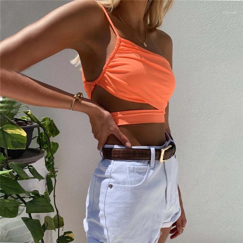 Camis Natural Color Fashion Crop Топы женские Одежда женская сексуальная выдалбливают CAMIS одно плечо поясами конструктора