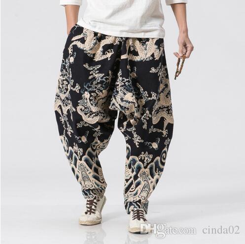 Черные штаны китайских бегунов брюки Dragon Plus Размер Мужской Big промежность Гарем Сыпучий Pant