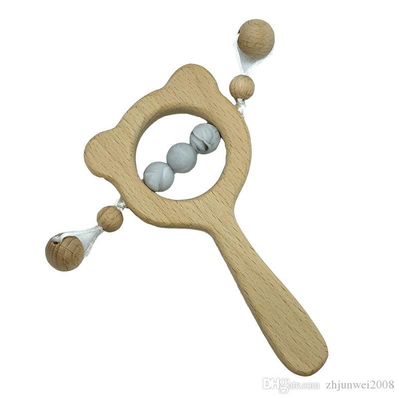 2pcs sicurezza del bambino BPA-Free molare giocattolo di legno di faggio Anello Teether Chew forma Perle Orso sconcerta i giocattoli del silicone Perline Teether
