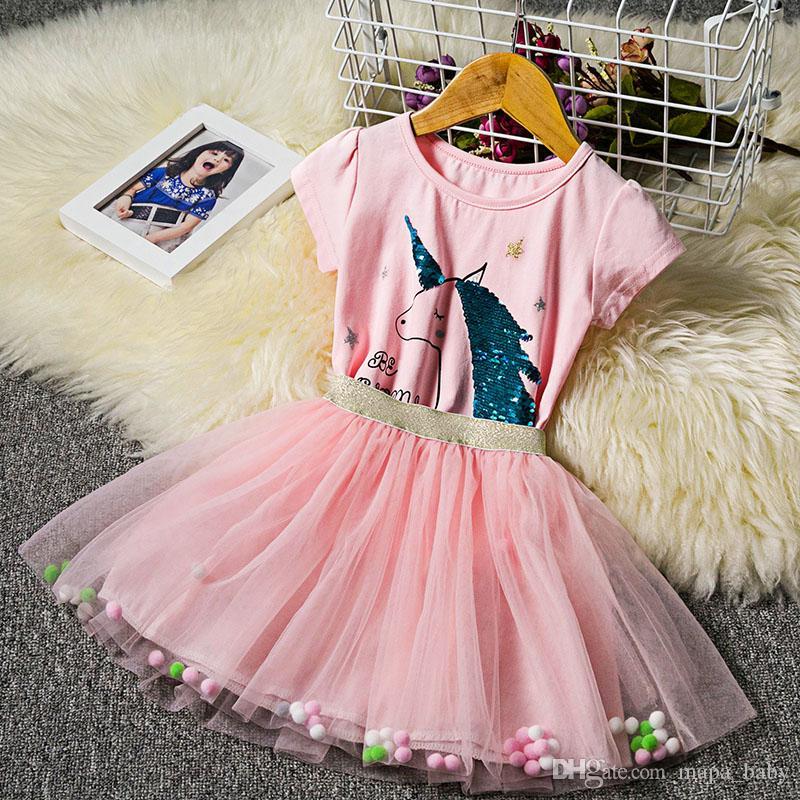 Girls Unicorn Sequins Dress Kids Shirt Skirt TUTU Rainbow Dresses Baby Birthday Gift Cartoon Outfits Color Changing