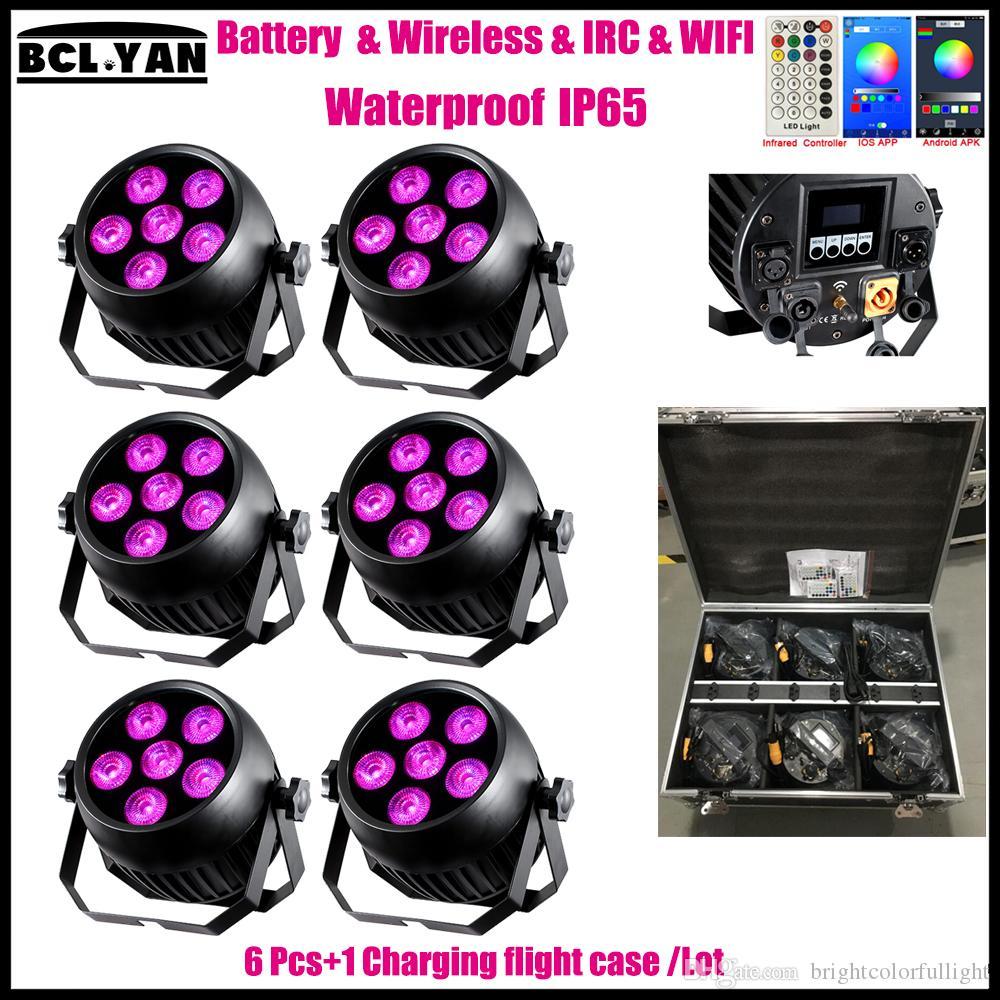2018 Newest Waterproof ip65 WIFI led battery wireless dmx wash stage light for wedding DJ 6*18w RGBWAUV 6 IN 1 Remote 6XLOT