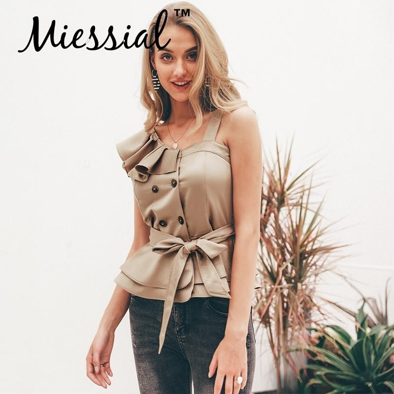 Miessial Sexy One Shoulder Top Women Tops Summer Ruffle Sashes Khaki Tanks Blusas Elegant Party Female Camisoles Tanks & Camis C19041101