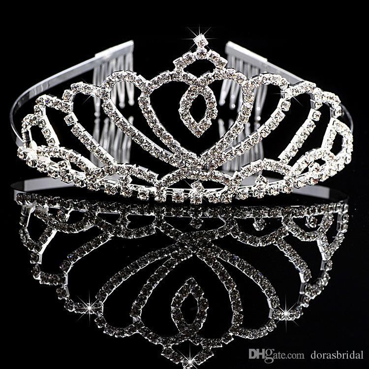 Девушки диадемы Wtih стразы кристаллы аксессуары для волос вечер выпускного вечера партии производительности театрализованное диадемы и короны для девочек DB-T007