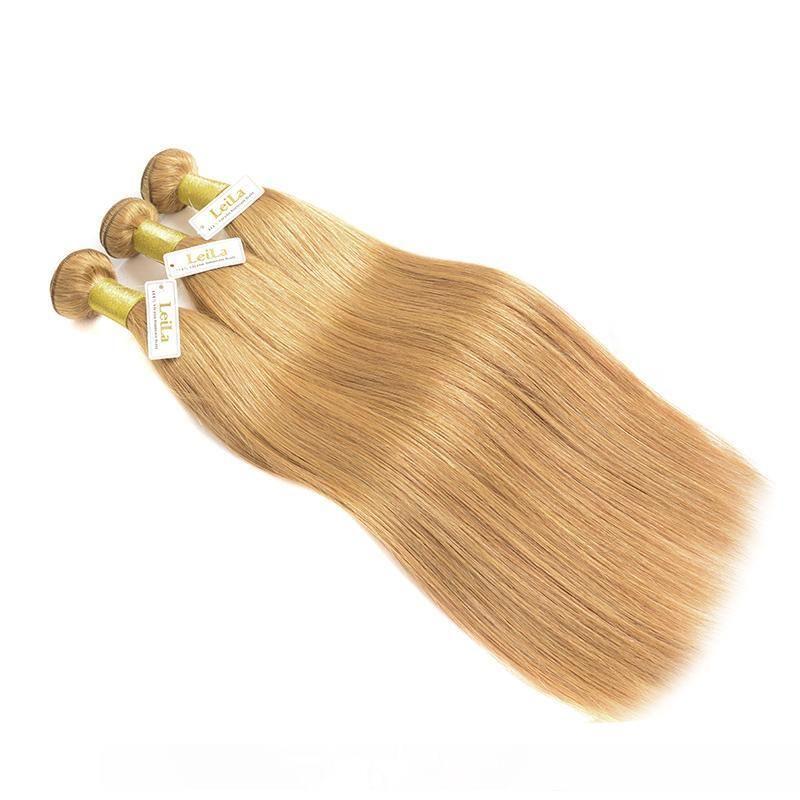 B 브라질 버진 헤어 위브 번들 컬러 27 #Honey 금발 페루 말레이시아 인도 유라시아 러시아어 실키 스트레이트 인간의 머리 Exten