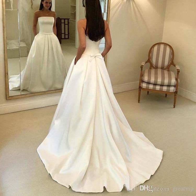 Simple Boho A Line Wedding Dresses Strapless Satin Bridal Dress Bow Sashes Vestidos De Noiva Bride Dresses Cheapest