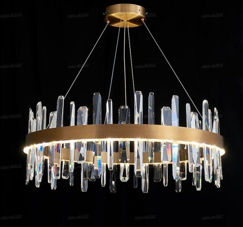 Luster anello di cristallo del lampadario a bracci di modo LED di Soggiorno di illuminazione semplice a casa Lampadari lampade a sospensione LLFA