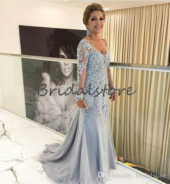 Boêmio Empoeirado Azul Mãe De Vestidos De Noiva Sereia V Neck Lace Mangas Compridas Prom Vestidos Desgaste da Noite Do Noivo Do Vintage mãe outfits vestido de baile
