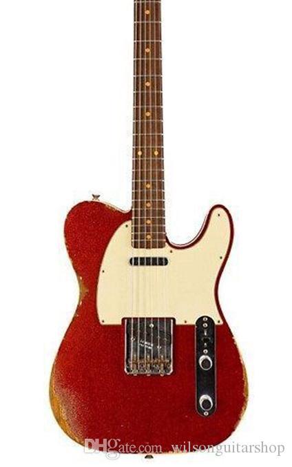 loja personalizada, 6 Cordas cor vermelha guitarra elétrica, relíquias de guitarra hands.customization