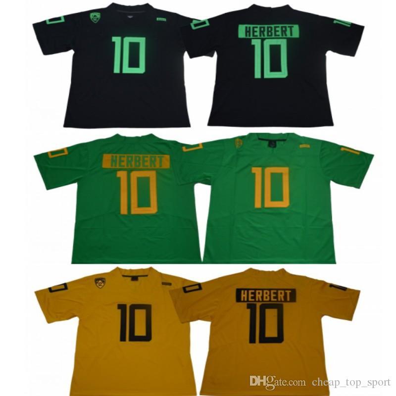 10 Justin Herbert Oregon Canards Collège Jersey Jersey Men Football Jersey Vert Livraison Gratuite Noir Jaune