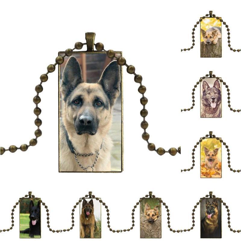 German Shepherd Dog Jóias Vintage Bronze presente Mulheres partido do vidro Cor Cabochon Choker Pendant retângulo longo Colar Para