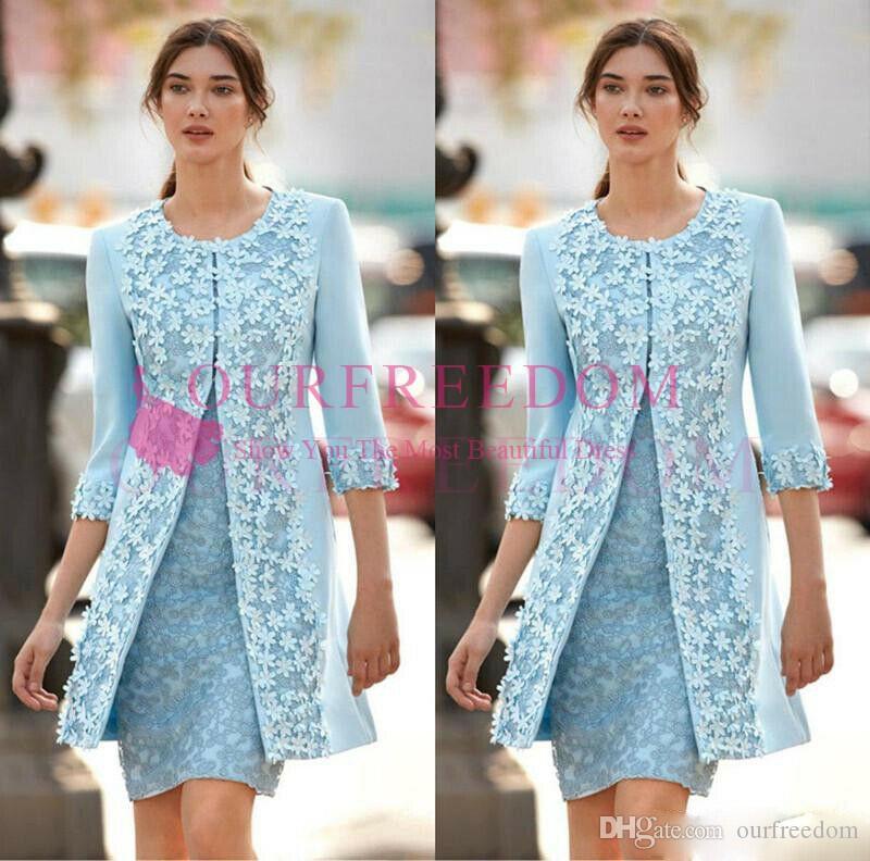 2019 Elegant Light Sky Blue Mother Of The Bride Dresses With 3D Flora Appliques With Jacket Long Sleeve Mother Dresses Formal Evening Wear