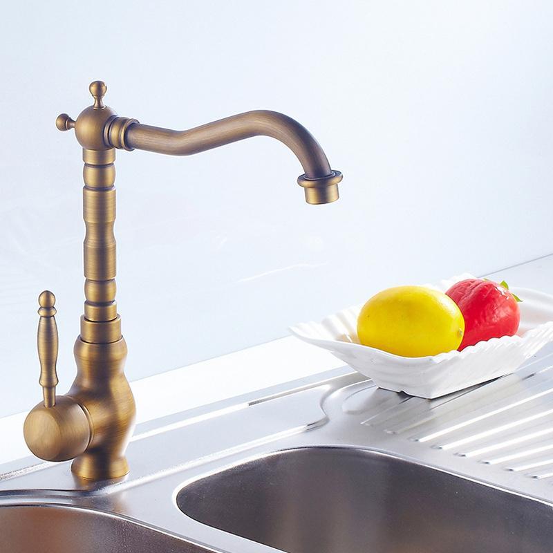 Античная латунь смесители для кухни 360 поворотный медь ванная комната бассейна раковина смеситель кран горячей холодной воды кран поворотный кран T200424
