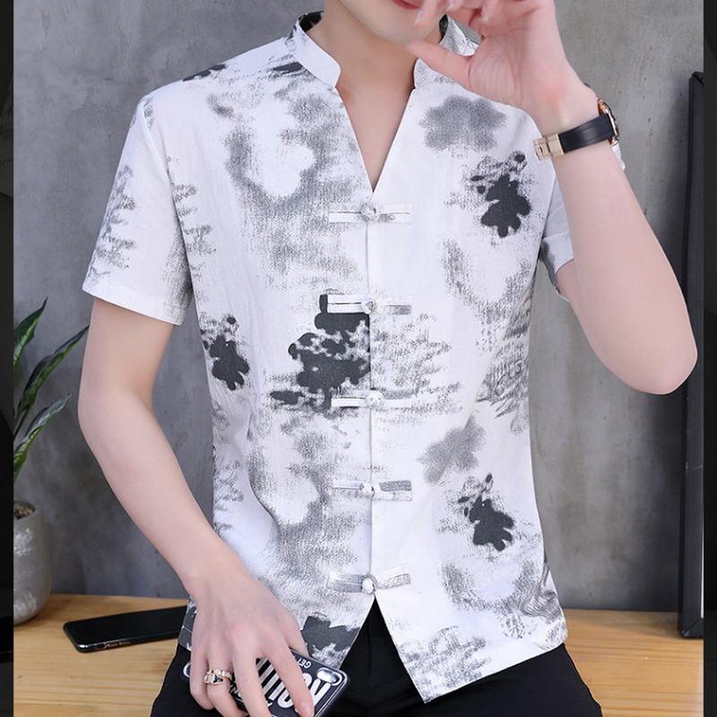 Camisas de lino de Talla Grande para hombres, camisa cuello mandarín con mangas Cortas Ajustada, ropa tradicional china 5XL
