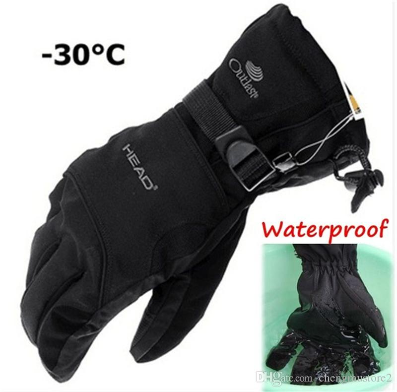 M/L Man Women Winter Ski sport waterproof double gloves black -30 degree warm riding gloves snowboard Motorcycle gloves
